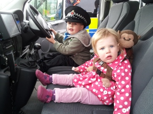 Driving a police car at the Surrey Heath Show!
